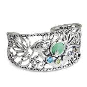 Southwest Spirit Wanesia Misquadace Sterling Silver Multi-Gemstone Otter Cuff Bracelet