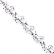 Sterling Silver Horses Bracelet - 17.8cm - Lobster Claw - JewelryWeb