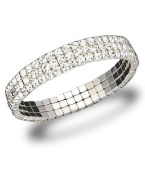 Three Row Austrian Crystal Stretch Bracelet -SKU#