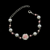 Polymer Rose and Pearl Bracelet White