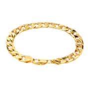 7.0mm Yellow Gold Plated Flat Cuban Bracelet 7.5 Inches