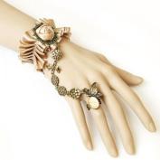 Champagne Rose Bracelet w/ Linked Butterfly Ring Set