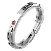 Stainless Steel Link Bracelet with Medical Symbol ID Plate to Engrave