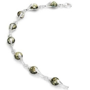 Sterling silver and round-shaped, green amber link bracelet