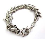 Silver-tone Alloy Metal Dragon Bracelet