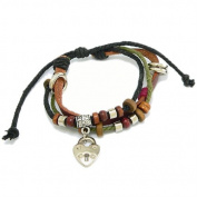 Three Strand Adjustable Bracelet With Wood Beads & Various Faux Charm Adornments