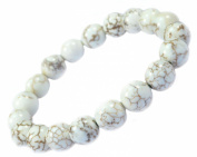 White Turquoise Bracelet 10mm - Good for Protection and Healing - 91044