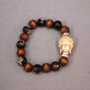 Accessory Accomplice Metallic Goldtone Buddha Black Glass Bead & Brown Wooden Beaded Stretch Bracelet