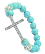 Stretchable Sideways Cross Bracelet with Blue Turquoise Beads & Crystal Cross - 91058