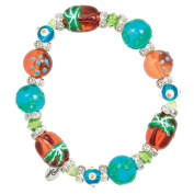 Clementine Design Kate & Macy Palm Tree Beach Bracelet Painted Glass Beads Rhinestones