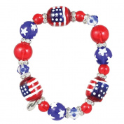 Clementine Design Kate & Macy All for America Bracelet Painted Glass Beads Rhinestones