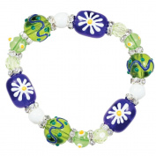 Clementine Design Kate & Macy Crazy for Daisy Bracelet Painted Glass Beads Rhinestones