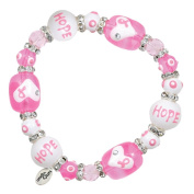 Clementine Design Kate & Macy Think Pink Breast Cancer Bracelet Painted Glass Beads Rhinestones