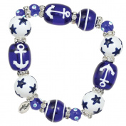 Clementine Design Kate & Macy Anchors Away Nautical Bracelet Painted Glass Beads Rhinestones