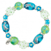 Clementine Design Kate & Macy Dreamy Dolphins Nautical Bracelet Painted Glass Beads Rhinestones