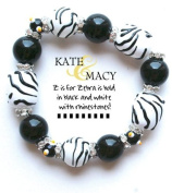 Clementine Design Kate & Macy Z is for Zebra Bracelet Painted Glass Beads Rhinestones