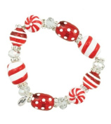Clementine Design Kate & Macy Fresh Peppermint Bracelet Painted Glass Beads Rhinestones