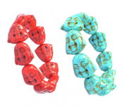 (A Set of 2) Red and Blue Buddha Head Turquoise Stone Bracelet - Good for Healing and Protection - 91057