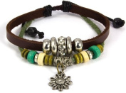 Beaded Two Strand Zen Leather Bracelet with Metal Flower Charm, Colourful Wood Beads, Metallic Spacers, Chrome Beads With Crystal Diamond Centre on Dark Brown Leather. Fits 4.5 to 22.9cm wrists sizes.
