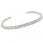 Ladies .925 Italian Sterling Silver princess cut cz bracelet Length - 8 inches Width - 3mm