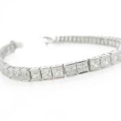 Ladies .925 Italian Sterling Silver princess cut cz tennis bracelet Length - 7 inches Width - 4mm