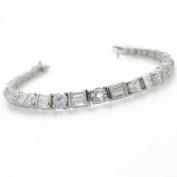 Ladies .925 Italian Sterling Silver round cut cz bracelet Length - 8 inches Width - 4mm