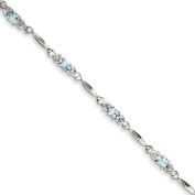 Sterling Silver Aquamarine and Diamond Bracelet