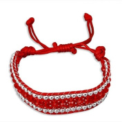 Red Crystal Rhinestone One Size Fits All Adjustable Wrap Bracelet.
