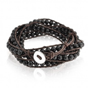 Bling Jewellery Stackable Black Simulated Onyx Gemstone Beads Brown Leather Wrap Bracelet