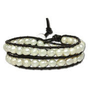 SilberDream leather bracelet with white culture pearls, variable size, leather bracelet genuine leather LAN014