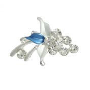 Rosallini White Royal Blue Leaf Rhinestone Accent Grape Safety Pin Brooch Brooch