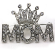 Queen Princess Tiara Heart Mother's Day Mom Pin Brooch Clear Stone Crystal Silver Tone