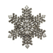 Best Selling Marcasite Studded Snowflake Christmas Brooch with Six Clear Cubic Zirconia