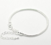 Bracelet Fits 20.3cm -25.4cm Inch for Pandora Beads Silver Tone Snake Chain Lobster Clasp Adjustable