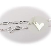 Sterling Silver Flat Heart Charm Bracelet Nickel Free Italy 19.1cm