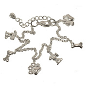 Simple and Plain Dog Motif Silvertone Charm Bracelet With Paw Prints, Doggy Bones and Tiny Pooch Charms