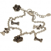 Dog Lovers Charm Bracelet with Genuine Marcasite