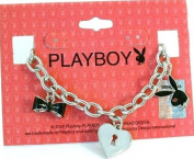 Playboy Charm Bracelet Bunny Heart Bow Tie Lock and Key Charms Toggle Genuine Authentic Licenced Jewellery Jewellery