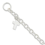 Sterling Silver Toggle Bracelet with Cross Charm