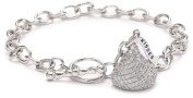 Hershey Jewellery Sterling Silver Cubic Zirconia Medium Flat Back Shaped with One Charm Bracelet