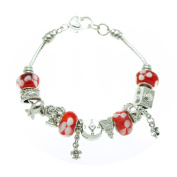 Red Floral Travel Murano Style Glass Beads and Charms Bracelet, 19.1cm