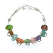 Mult-colour Purses Murano Style Glass Beads and Enamel Charms Bracelet, 19.1cm