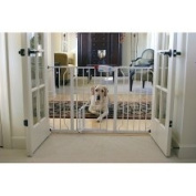 Carlson Pet Products-Extra Wide Walk-thru Gate With Pet Door- White 29-110cm