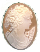 Cameo Pin Pendant Sterling Silver Conch Shell Hand Made Italian Master Carved