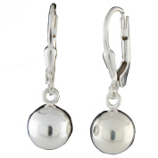 Sterling Silver 8mm Round High Polish Leverback Ball Earrings