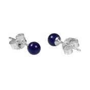 925 Sterling Silver 4mm Natural Afghani Lapis Lazuli Ball Stud Post Earrings