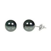925 Sterling Silver 8mm Natural Black Diamond Hematite Ball Stud Post Earrings