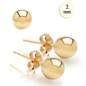 High Polish 14K Yellow Gold 2MM Ball Earrings With Post Friction Back