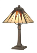 Dale Tiffany TA70680 Cooper Accent Lamp, Antique Bronze and Art Glass Shade