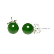 925 Sterling Silver 6mm Natural Nephrite Green Jade Ball Stud Post Earrings